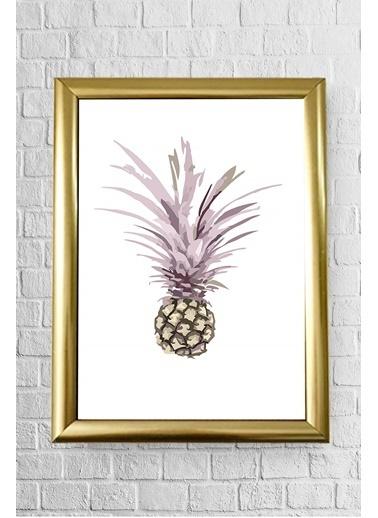 Lyn Home & Decor Pembe Yapraklı Ananas Çerçeveli Poster Tablo 23.5X33,5 Altın